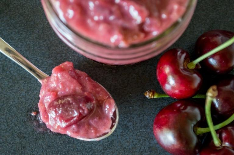 cherry, rhubarb & pinot noir chutney