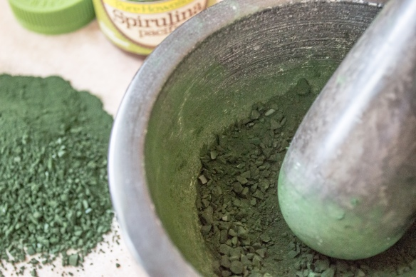 spirulina powder in mortar & pestle