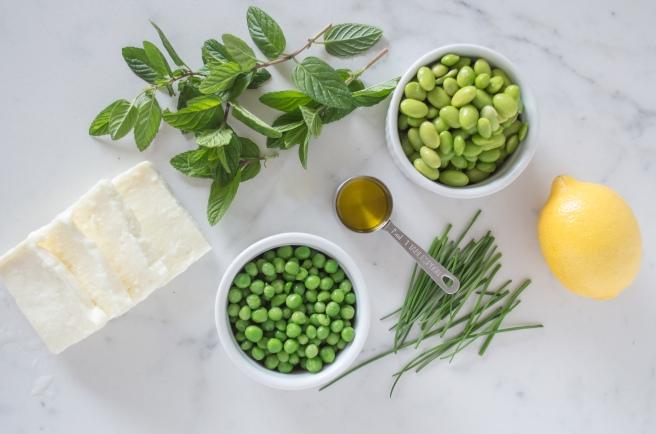 petite peas, mint, chives, lemon oil, haloumi