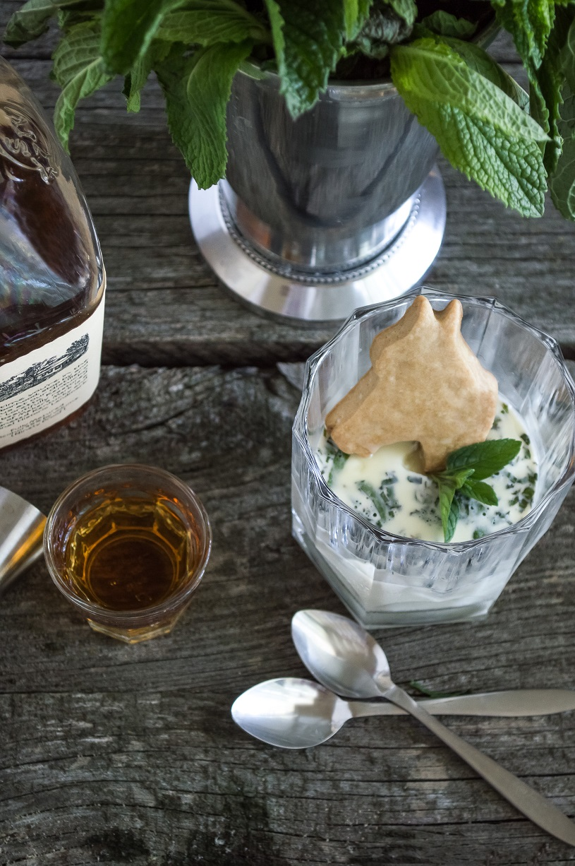 Mint Julep Panna Cotta with  Bourbon Sugar Cookies