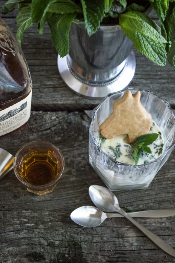 Mint Julep Panna Cotta and Bourbon Sugar Cookies