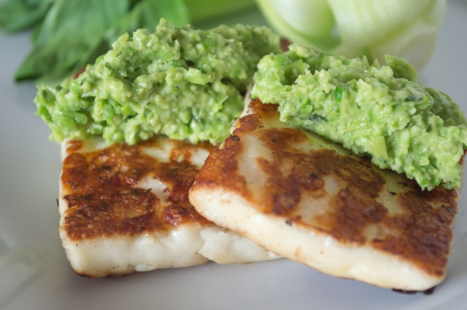 petite pea tapinade with grilled haloumi