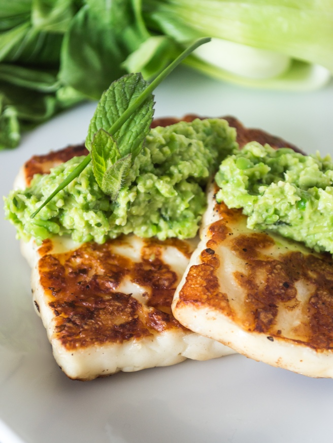spring petite pea tapinade with grilled haloumi
