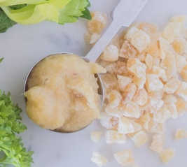 fresh ginger and candied ginger chips