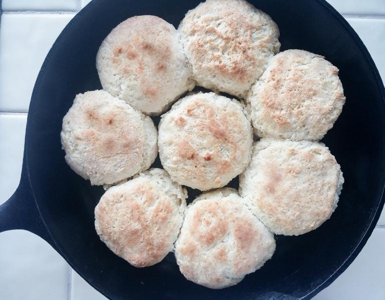 flaky powder milk biscuits in pan | whiskandmuddler.com