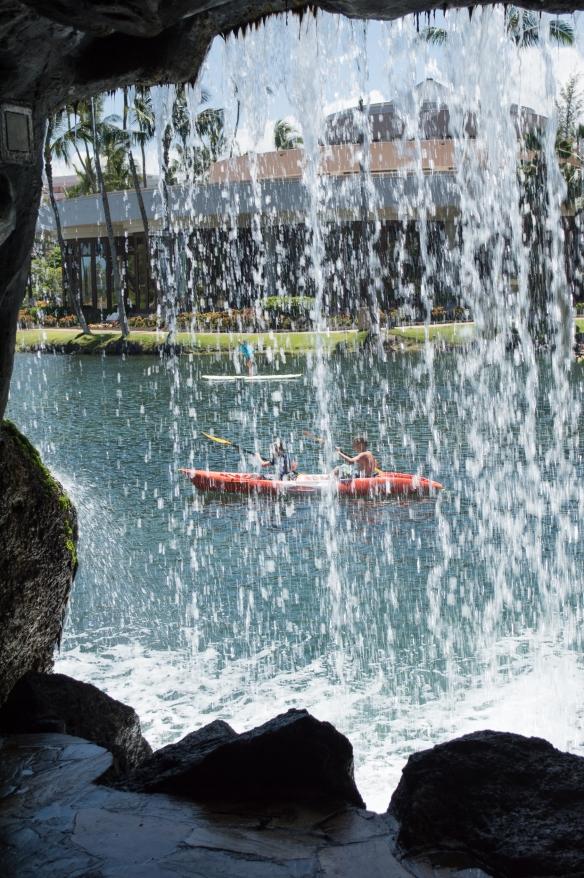 behind a waterfall | hilton waikoloa | whiskandmuddler.com