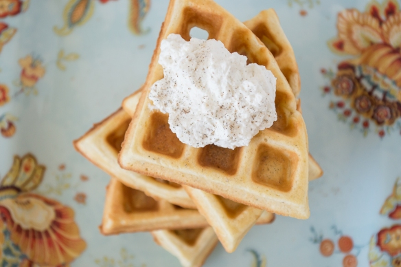 cardamom belgian waffles with spiced whipped cream | whiskandmuddler.com
